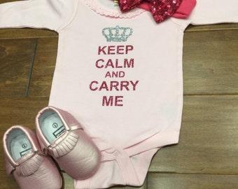 Keep Calm and Carry Me Onesie, Keep Calm and Carry Me, Baby Onesie, Keep Calm, Long Sleeved Baby Onesie