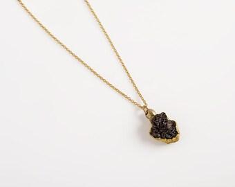 Raw diamond necklace, rough diamond jewelry, black diamond pendant, uncut black diamond necklace