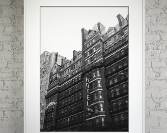 """Chelsea Hotel NYC 11"""" x 14"""" Black & White Print Posterboard"""