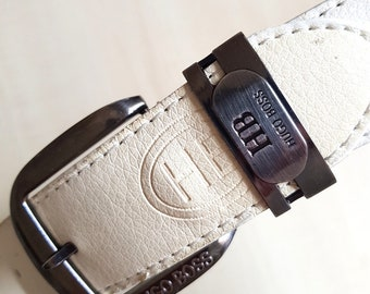 Vintage 1990's Beige Leather Belt - Brand: HUGO BOSS