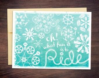 Cyclist Christmas Card - Bicycle, Cycling, Triathlon, Bikers, Fitness Holiday Card, Triathlete, Biking Gift
