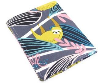 Sloth Wallet, Small Womens Wallet, Travel Wallet, Minimalist Wallet Women, Fabric Wallet, Wallets For Women, Credit Card Wallet