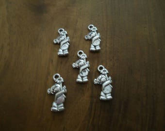 set of 5 BEAD charms - bear - antique silver
