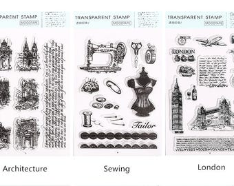 Vintage Style Clear Stamp Set #2 - Architecture, Sewing, London, Planner, Journal, Craft, Scrapbooking, Decoration