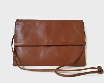 Lovely Brown Leather Vintage Handbag Soft Rectangle Purse Cocoa Day Bag