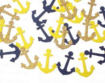 100 Nautical Glitter Gold Navy Yellow Anchors punch die cut confetti scrapbook embellishments - No290