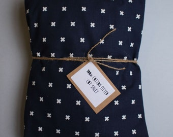Fitted Cot Sheet / Fitted Crib Sheet in Navy Cross print - READY TO SHIP by Little Dreamer