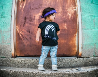defy the odds black tee kids shirt empowerment tee boys and girls shirt hipster kids clothing trendy kids clothes boys graphic tee girls tee