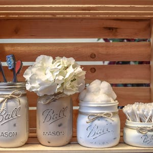Charmant Rustic Farmhouse Distressed Mason Jar Bathroom Set, Home Decor, Farmhouse  Decor, Cotton Ball
