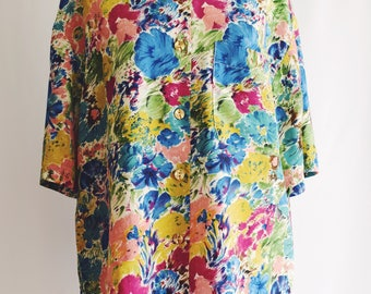 Flower silk blouse