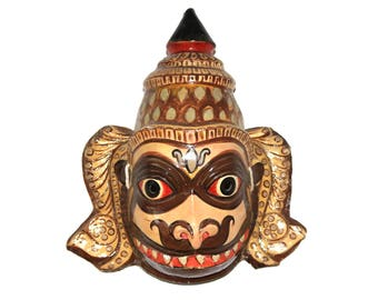 One off Genuine Hand Made Paper Mache Indian Hindu Theatre Stage Hanuman Monkey God Mask