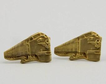 Handmade Earrings  Jewelry For Railway Fans Train Earrings Mid Century Train Engine Earrings Raw Brass Steel Post Paintable