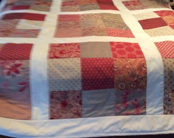 Red and Ivory 9 patch queen size quilt