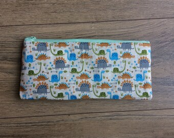 Dinosaur pencil case, dinosaur print, dinosaur gift, dinosaur zip bag, dinosaur accessories, make up bag, cosmetics bag