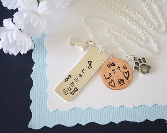 Personalized Furry Mom Necklace, Mother, Pet Mom, Animal Lover necklace Custom, Copper charm, paw, dog, cat, pet necklace, Sterling Silver