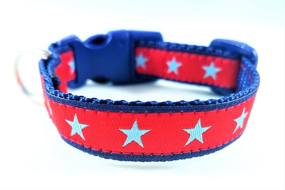 All Star Pup -Dog Collar / Teacup Dog Collar / Mini Dog Collar / Stars / Red White and Blue / Small Dog Collar
