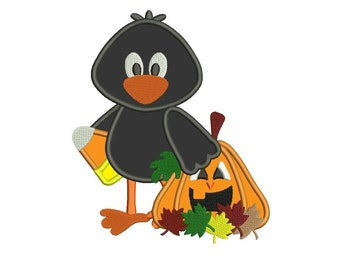 Crow Pumpkin and Candy Corn Halloween Applique Machine Embroidery Digitized Design Pattern  - Instant Download - 4x4 , 5x7, and 6x10