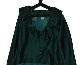 BL_004) Vintage Turquoise 100% silk jacket/Blazer