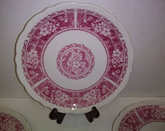 Syracuse China Company set of 4 salad plates red with floral design. Made in the USA. Vintage China. Vintage tableware.