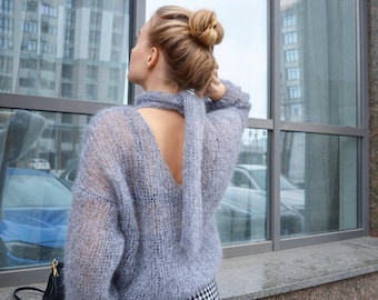 Gray sweater, V-neck sweater, mohair sweater, bohemian sweater, loose sweater, open back sweater, handknitted sweater, trendy sweater, knit