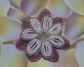 Large purple and white flower brooch