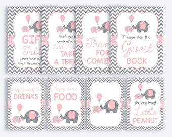 Instant Download, Elephant Baby Shower Table Sign, Elephant Party Sign, Little Peanut Party Sign, Girl Baby Shower,Pink Gray Chevron(SBS.36)