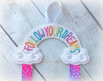 Rainbow bow holder Follow Your Dreams Bow Holder for Hair Clips/ Pins OR Headbands Choose Your Style