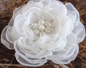 Singed Flower Organza Flower With Pearl and Rhinestone (3-3/4 inches) In White MY-346 Ready To Ship