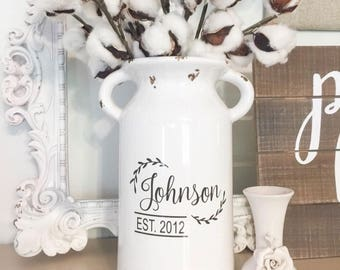 Wedding Gifts, milk can, wedding gift, gift for couple, rustic wedding gift, personalized vase, anniversary gift, ceramic, engagement gift
