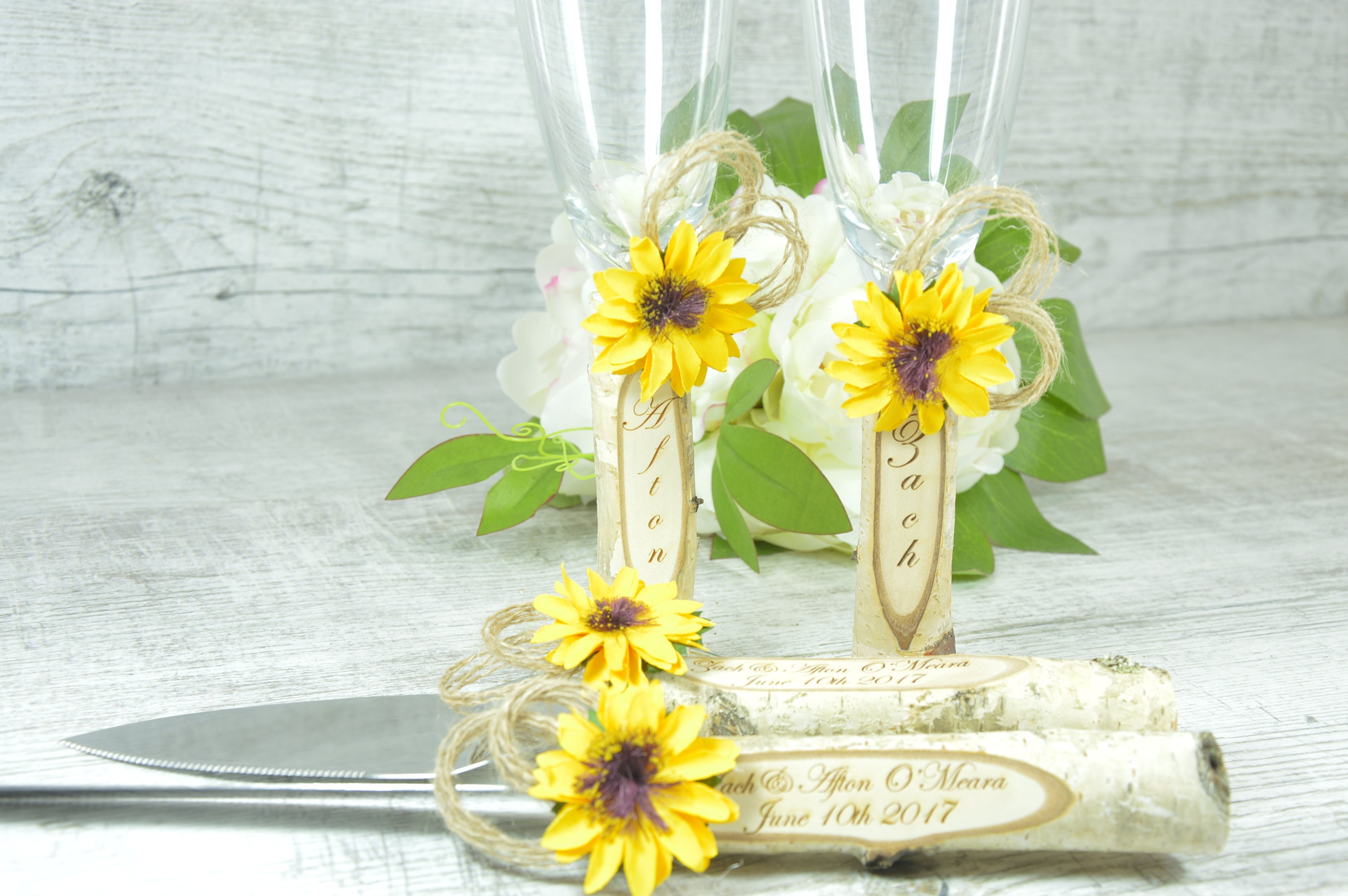 Toasting Glasses Flutes Rustic Cake Serving Set Personalized