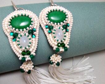 Earrings with jadeite Earrings with moonstone and brushes. Earrings Beaded Earrings Handmade Beaded Jewelry Beaded Long earrings