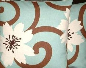"2x 16"" Contemporary Modern Duck Egg Blue Brown Designer Funky Cushion Covers,Pillow Cases,Pillow Covers,Pillow"