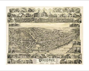 """Woodstock New Brunswick in 1889 Panoramic Bird's Eye View Map by Duncan D. Currie 22x17"""" Reproduction"""