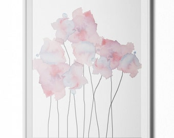 Soft, Ethereal Blue & Purple Watercolor Flowers Wall Art Print- 8x10 PDF Instant Download