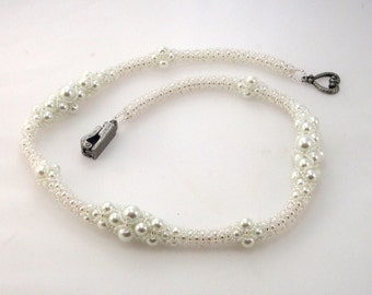 Wedding White Pearl Necklace, Graduated Pearls