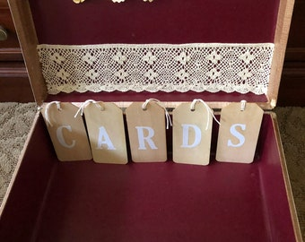 Vintage suitcase upcycled to wedding card holder.  Rustic and shabby and so stylish for today's more casual bride.