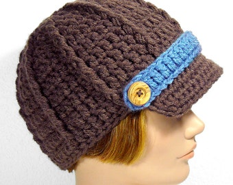 Newsboy Hat with Visor, Color Swap Brimmed Beanie