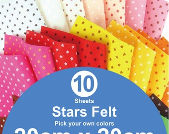 10 Printed Stars Felt Sheets - 20cm x 20cm per sheet - Pick your own colors (S20x20)