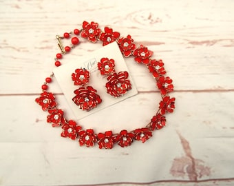 Coro Necklace - Vintage Red Necklace - Coro Set - 1950s Coro Set - 1950s Necklace Earrings - Flower Necklace Set - 1950s Red Necklace