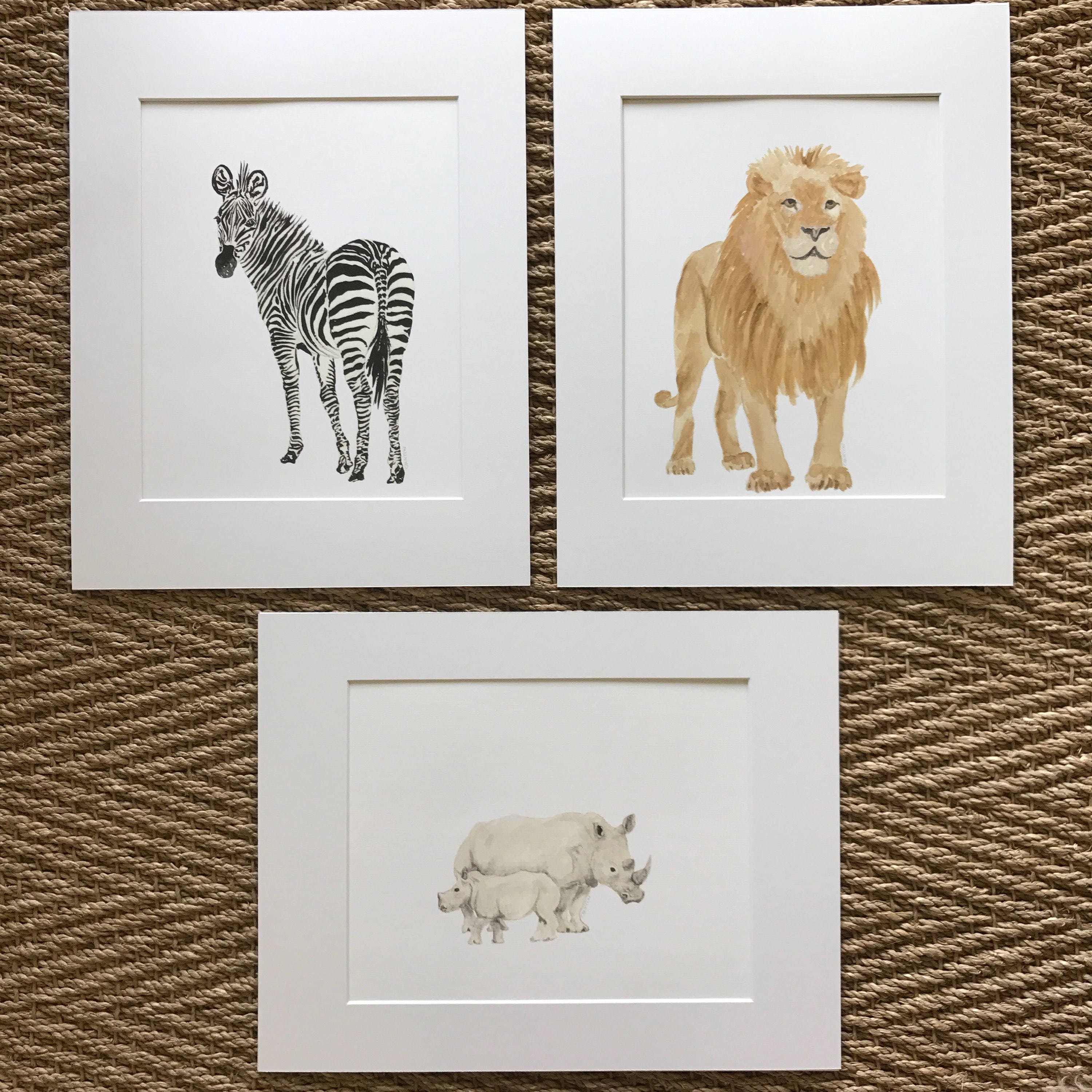 Safari prints. Lion, Zebra, or Rhino. Prints matted and ready to be ...