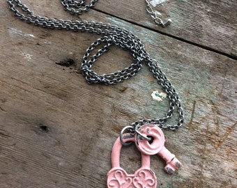 Pink Lock and Key Necklace, Long necklace, Boho jewelry