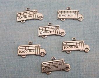 SALE 6 Silver School Bus Charms 3899W