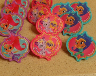 24 Shimmer and Shine Cupcake Topper Rings Birthday Party Decoration/Licensed