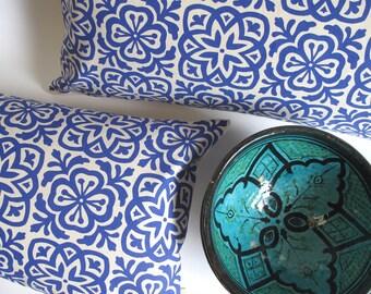 Moroccan Tile Slim Pillow in Royal Blue
