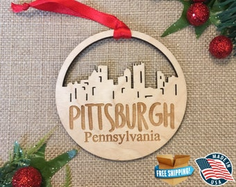 Pittsburgh Pennsylvania Ornament *** Skyline Christmas Holiday Ornament *** PA