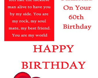 Girlfriend 60 Birthday Card with removable laminate