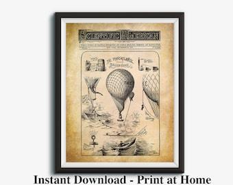 Hot Air Balloon, Steampunk Airship, Transatlantic Balloon Voyage, Airship Poster, Vintage Industrial Print, Retro Prints, Printable Art