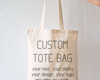 Custom tote bag-personalized tote bag-custom bag-tote with your text-initial tote-wedding bag-party bag-holiday gift-tote bag-NATURA PICTA