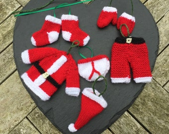 Knitted Santa clothes, Santa's clothes, Father Christmas' clothes, Hanging decorations, Christmas decorations