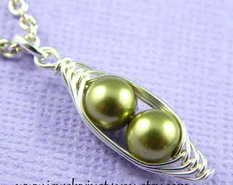 Two Peas in A Pod Necklace, Select your color
